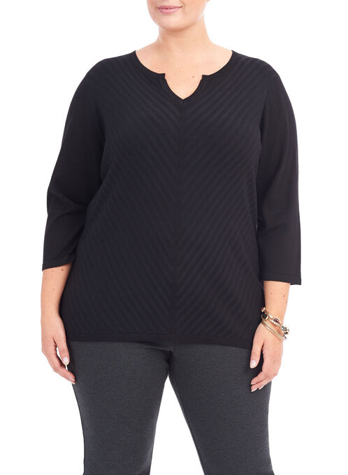 3/4 Sleeve V-Neck Sweater, Black, hi-res
