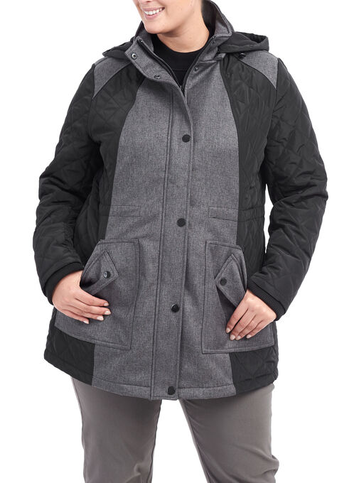 Softshell Hooded Quilted Jacket , Grey, hi-res