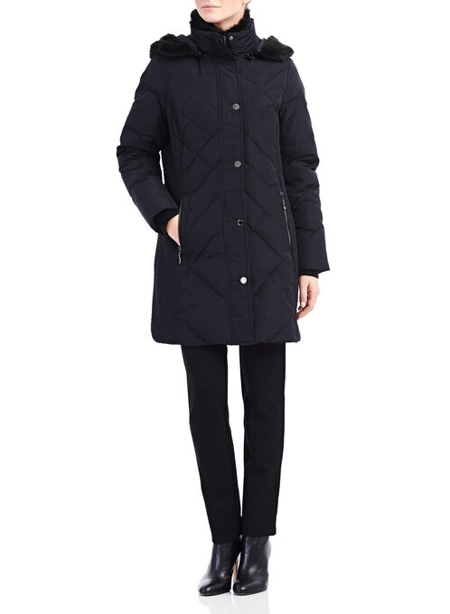 Novelti Faux Fur Down Coat , Black, hi-res
