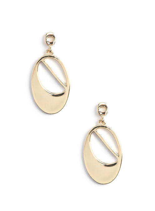 Oval Dangle Earrings, Gold, hi-res
