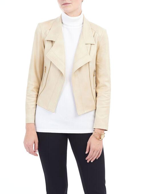 Zipper Detail Faux Suede Jacket , Brown, hi-res