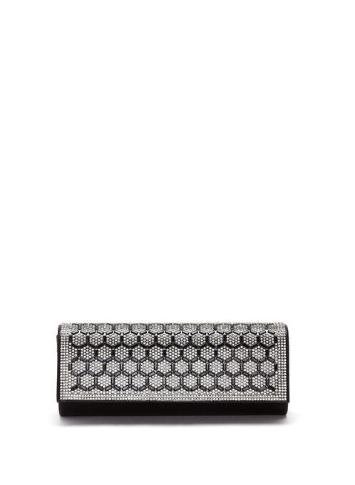 Crystal Geometric Flapover Clutch, Black, hi-res