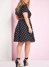 Fit & Flare Dot Print Dress, Black, hi-res
