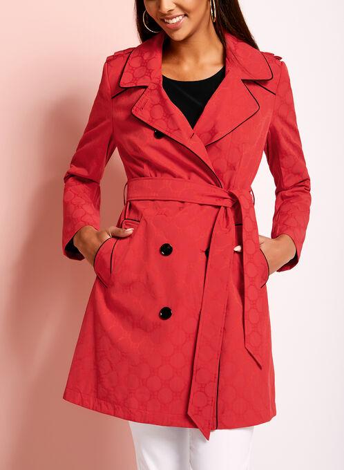 Novelti Jacquard Trench Coat, Red, hi-res