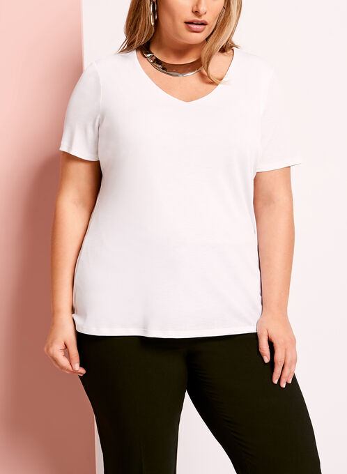 Double Layer V-Neck Knit Top, White, hi-res