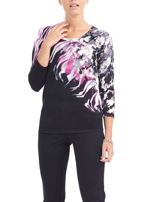 3/4 Sleeve Scoop Neck Knit Top, Black, hi-res