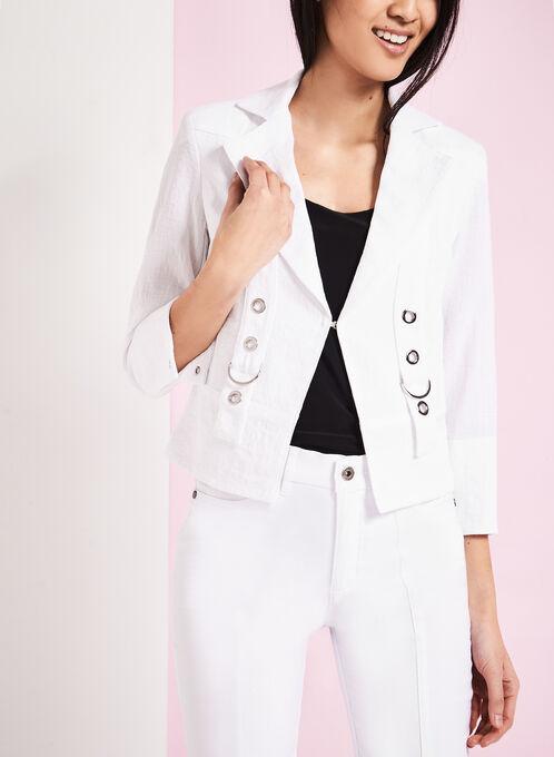 Vex Faux Linen Grommet Detail Jacket, White, hi-res