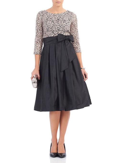3/4 Sleeve Sequined Taffeta Dress, Black, hi-res