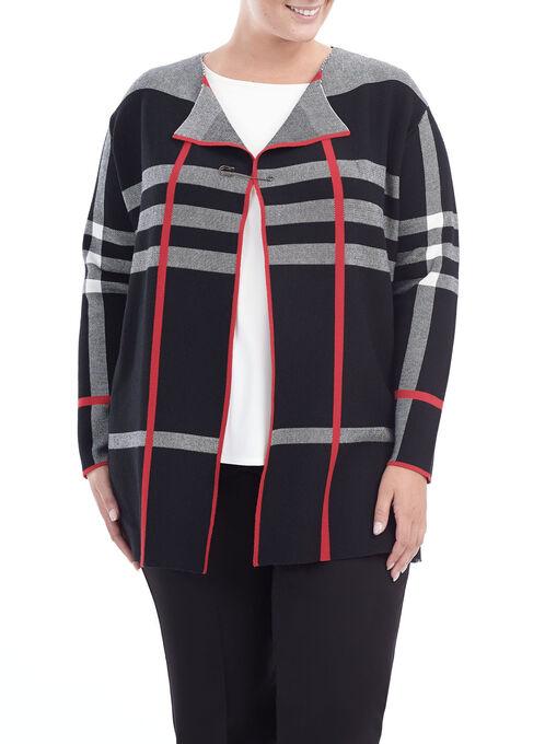 Double Knit Plaid Cardigan, Black, hi-res