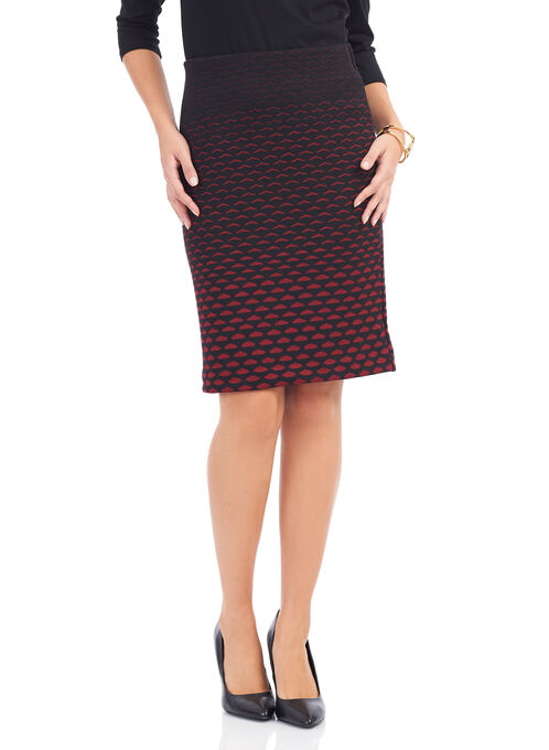 Knit Honeycomb Print Skirt , Black, hi-res