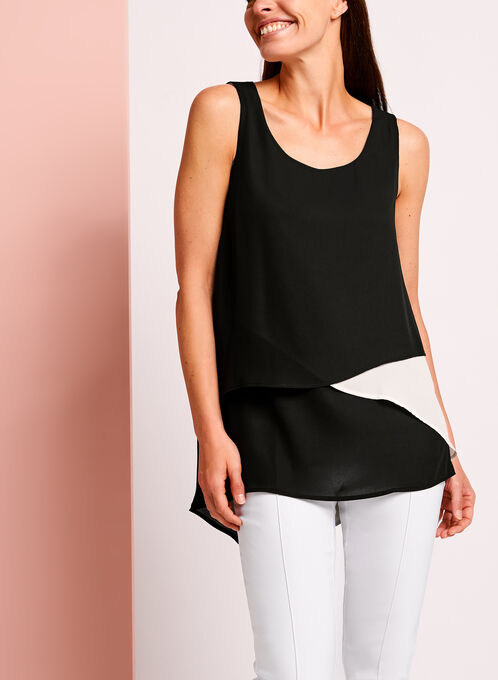 Sleeveless Scoop Neck Contrast Top, Black, hi-res
