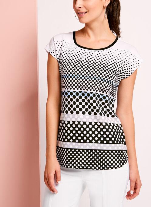Drop Shoulder Dot Print T-Shirt, Blue, hi-res