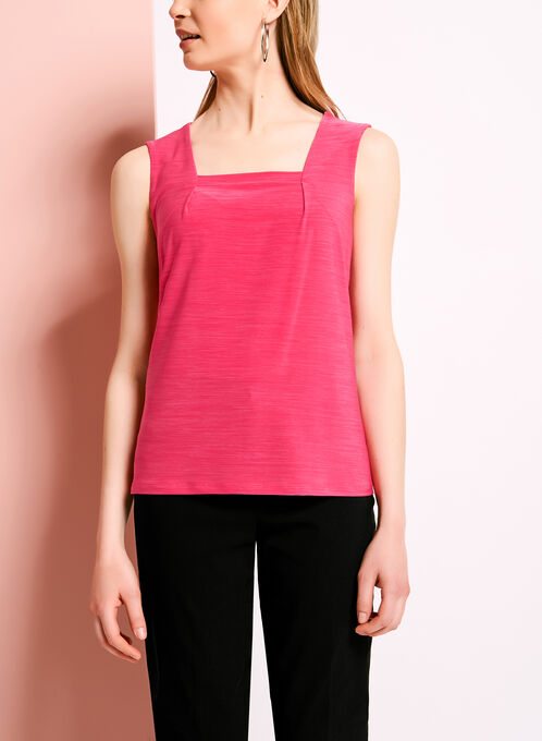 Square Neck Sleeveless Jersey Top, Pink, hi-res