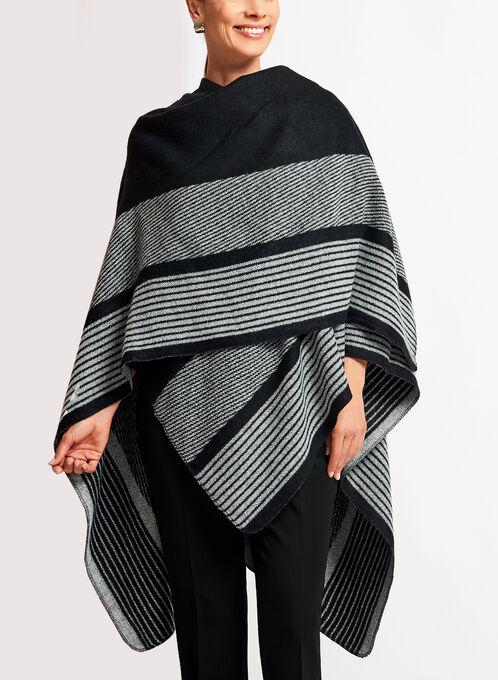 Stripe Print Poncho, Black, hi-res