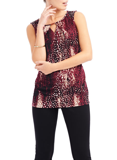 Keyhole Neck Sleeveless Top, Red, hi-res