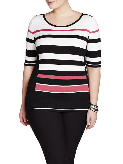 Knit Stripe Print Elbow Sleeve Top, Black, hi-res