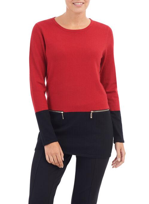Zipper Trim Tunic Sweater, Red, hi-res