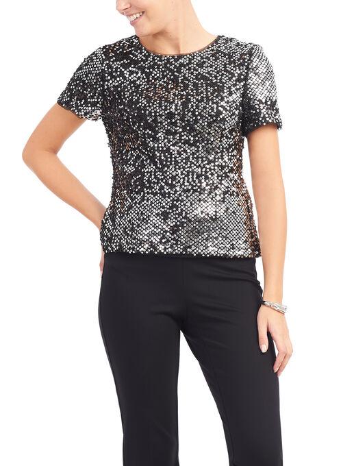 Short Sleeve Sequined Top, Black, hi-res