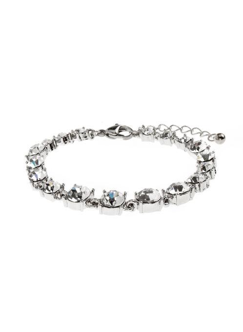 Round Crystal Bracelet, Silver, hi-res