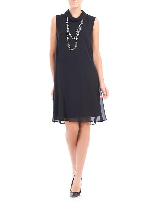 Chiffon & Scuba Mock Neck Dress, Black, hi-res