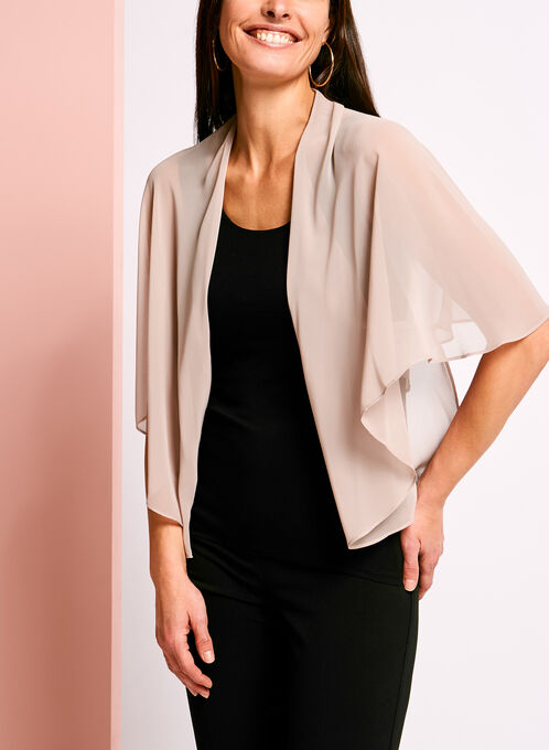 Convertible Chiffon Bolero, Brown, hi-res