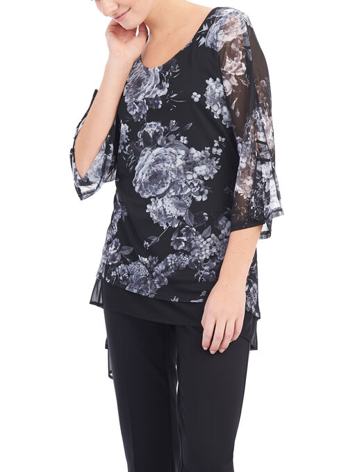3/4 Sleeve Floral Print Tunic , Black, hi-res