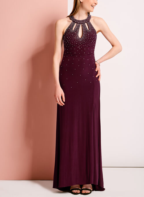 Crystal Embellished Cutout Gown, Red, hi-res