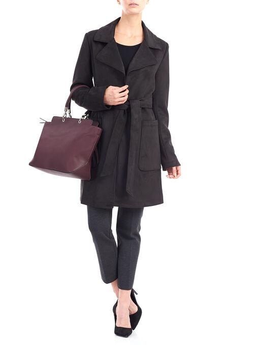 Faux Suede Wrap Coat, Black, hi-res