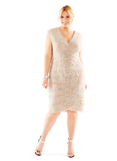 V-Neck Lace Dress, Brown, hi-res