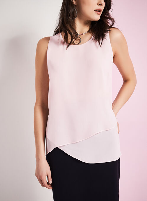 Sleeveless Asymmetrical Blouse , Pink, hi-res