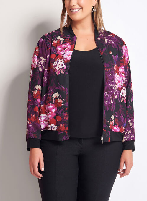 Floral Print Bomber Jacket, Red, hi-res