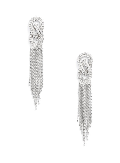 Crystal & Chain Chandelier Earrings, Silver, hi-res