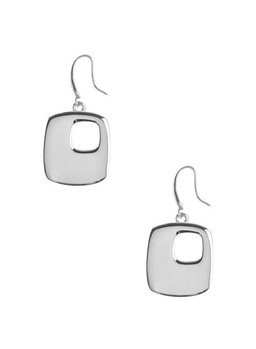 Open Square Earrings, Silver, hi-res