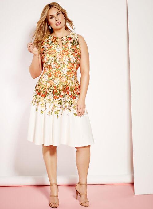 Rose Print Scuba Fit & Flare Dress, Red, hi-res