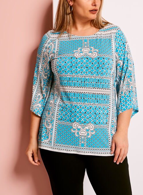 Graphic Print Bell Sleeve Top, Blue, hi-res