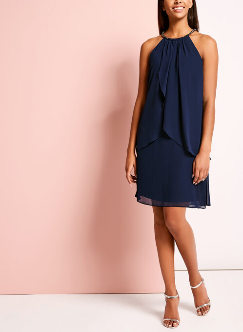 Drape Front Embellished Cleo Neck Dress, Blue, hi-res