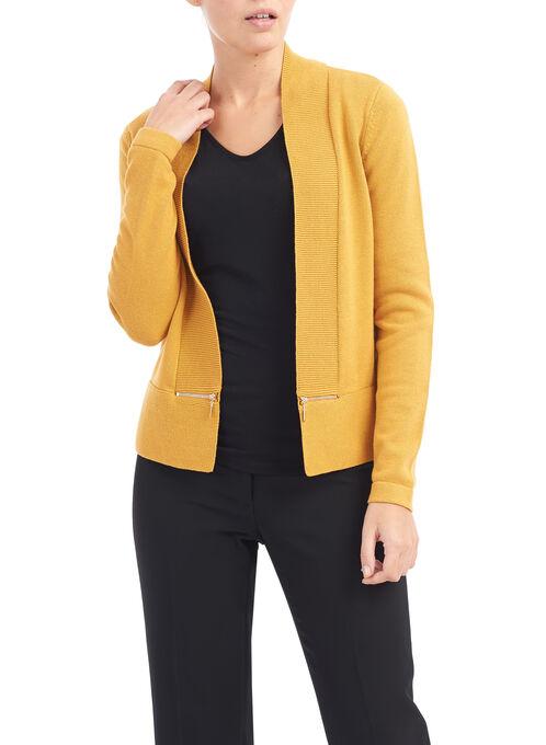 Zipper Trim Knit Cardigan, Yellow, hi-res
