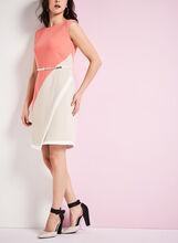 Colour Block Belted Crêpe Dress, Orange, hi-res