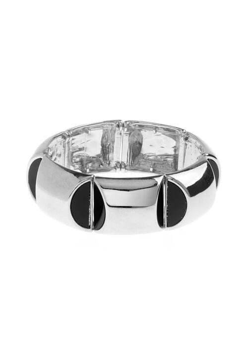 Bracelet élastique métal brillant en relief, Noir, hi-res