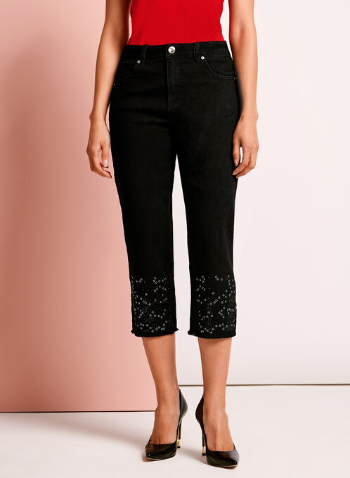 Simon Chang Embellished Denim Capris, Black, hi-res