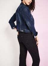 Notch Collar Denim Jacket, Blue, hi-res