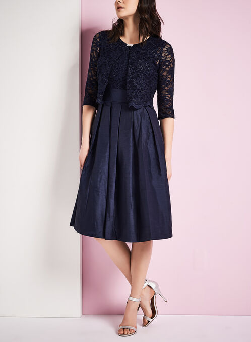 Glitter Lace Dress with Jacket, Blue, hi-res