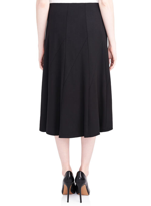 Gored Ponte Skirt, Black, hi-res