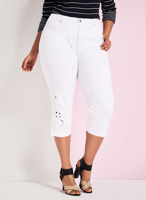 Simon Chang Embroidered Denim Capris, White, hi-res