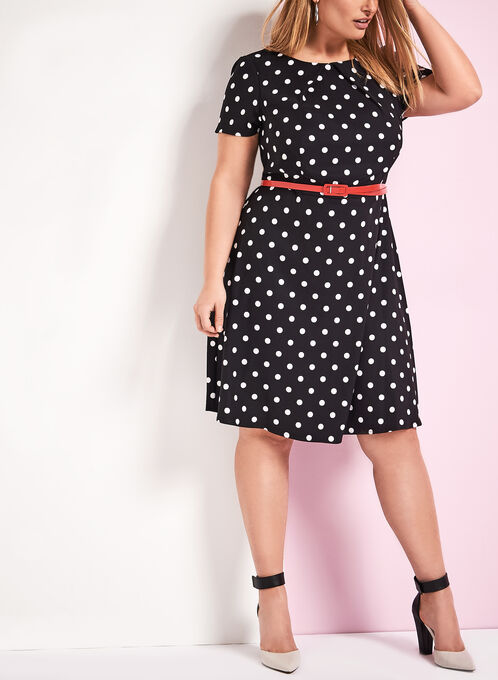 Fit & Flare Dot Print Dress, Black, hi-res