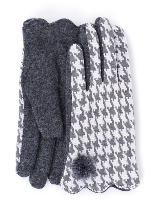 Wool Blend Gloves with Pompom, Grey, hi-res