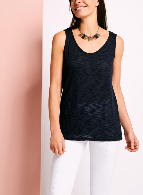 Scoop Neck Slub Knit Tank Top, Blue, hi-res