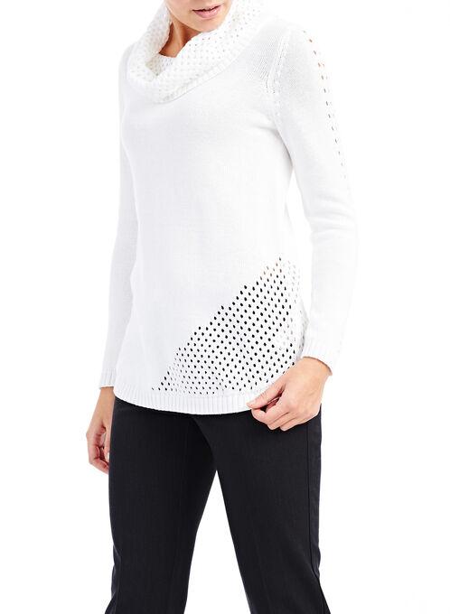 Cowl Neck Crochet Sweater, Off White, hi-res