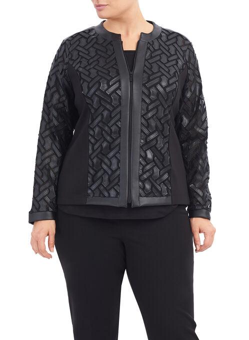 Mesh & Faux Leather Jacket , Black, hi-res