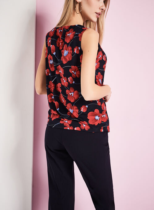 Poppy Flower Print Sleeveless Top, Red, hi-res